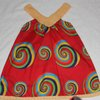 Crochet red dress with V-neck and African print fabric by JaxStar Handmade Clothing and Home