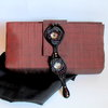 Unique Rusty Brown and Black Boutique Clutch, Chic Evening Clutch, Brown Satin Clutch, Formal Purse, Statement Clutch, Wedding Purse, gifts by I Creations Boutique
