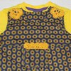 Blue and yellow floral baby dungarees  by JaxStar Handmade Clothing and Home