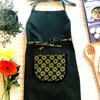 Dark Green Childrens Apron / Kids Aprons / Kitchen Apron / Polka Dot Apron / African Print / Toddler Apron / Girls Apron / Yellow Green by Shwe-Shwe Designs