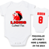 PERSONALISED LIONS RUGBY Baby Grow with NAME & NUMBER/LIONS Cutest fan Onesie / Grower/ Bodyvest / Baby Clothes/ Rugby by Little Lion Cub Studio