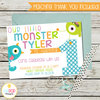 Little Monster Birthday Invitation, First Birthday, 1st Birthday, White, Halloween, Printable by EyePop Designs