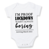 I'm proof LOCKDOWN wasn't always BORING / baby onesie/PREGNANCY REVEAL Onesie/ Unisex  / Baby Announcement Idea / Baby Reveal / Baby on the way / QUANRANTINE BABY / LOCKDOWN BABY by Little Lion Cub Studio