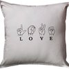 """Love"" in sign language embroidered cushion by Pillow Talk"