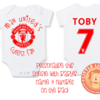 PERSONALISED MANCHESTER UNITED Baby Grow with NAME & NUMBER/Manchester United's Cutest Fan Onesie / Grower/ Bodyvest / Baby Clothes by Little Lion Cub Studio