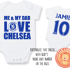 PERSONALISED CHELSEA FC Baby Grow with NAME & NUMBER/Me & My Dad Love CHELSEA Onesie/ Bodysuit/ Body vest / Baby Clothes/Father's Day by Little Lion Cub Studio