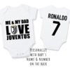 PERSONALISED JUVENTUS Baby Grow with NAME & NUMBER/Me & My Dad Love Juventus / Juventus Onesie/ Bodysuit/ Body vest / Baby Clothes / Baby Shower   by Little Lion Cub Boutique