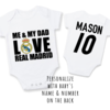 PERSONALISED REAL MADRID Baby Grow with NAME &a NUMBER/ Me & My Dad Love Real Madrid / REAL MADRID Onesie/ Bodysuit/ Body vest / Baby Clothes / Baby Shower   by Little Lion Cub Studio