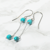 Atenea handmade natural genuine Turquoise gemstone chain earrings on stainless steel by ATENEA