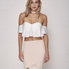 White Flirt Crop Top by Mieke Ola