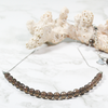 Natural smoky quartz gemstone dainty necklace with stainless steel chain & clasp by ATENEA
