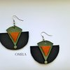 African Earrings, Moon Black earrings, Leather Earrings, Hippy Style by Omela Boutique