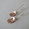 Copper Oval & Botanical cut-out Hook Earrings by Liwo Design