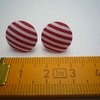 Red And White Stripe Button Earrings by Bow Peep
