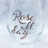 Rosé all day stemless wineglass with Rose Gold  by Love & Sparkles