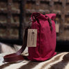 Red Wax Canvas Sling Bag With Maroon Leather by Modern & Tribal Designs
