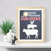 Good Morning Sunshine, printable wall art Denim and red gingham  by hcmorrison printables