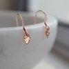 Dainty Rose Gold Earrings, Tiny Dangle, Minimalist Jewellery, Rose Gold Filled by Minkykitten