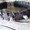 Stainless Dome nut Leather bracelet by Zefzulu