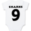 PERSONALISED SHARKS RUGBY Baby Grow with NAME & NUMBER/Sharks newest fan Onesie / Grower/ Bodyvest / Baby Clothes / RUGBY by Little Lion Cub Boutique