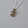Sterling Silver Little Girl with Heart Pendant by Liwo Design
