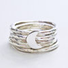Sterling Silver Crescent Moon Ring Stack (5) by megan goldner designs
