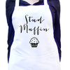 White Kitchen Apron With Colour Detail, Full baking Apron, Custom Text Colour, Unisex Apron, Stud Muffin, Cooking apron by Toast Stationery