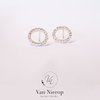 Circle stud earrings with CZ stones by Van Nierop Juweliers / Jewellers