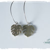 Large Brass Monster leaf statement Hook earrings by Natasha Wood Jewellery