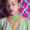 Orange Tribal multi layered beaded necklace by VKG