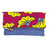 Red and yellow flowers Wax print and Navy blue leather Foldable Clutch Bag - Leather sling - LEKKER - Philisile by We All Share Roots