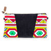 Geometric Wax print and black leather Clutch bag - Leather sling - YEBO - Vuyokazi by We All Share Roots