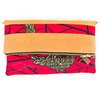 Red and black Wax print and Tobacco leather Foldable Clutch Bag - Leather sling - LEKKER - Nolwandle by We All Share Roots