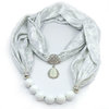 White necklace - brocade with pearl pendant by SoSoLovely