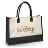 Large Jute Eco Wifey Shopper tote bag with black panel bride gift wedding by Love & Sparkles