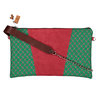 Green and pink Shweshwe and Burgundy leather Clutch Bag - Silver chain and leather sling - YEBO - Ndiliswa by We All Share Roots