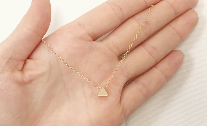 Tiny Gold Triangle Necklace