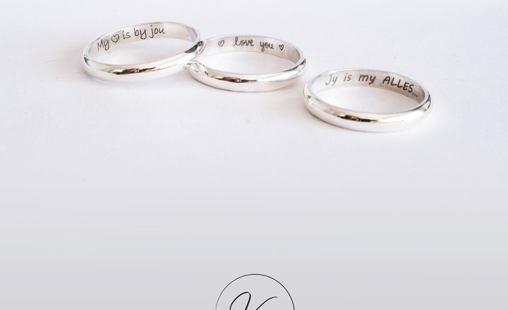 Handwritten message in a sterling silver ring