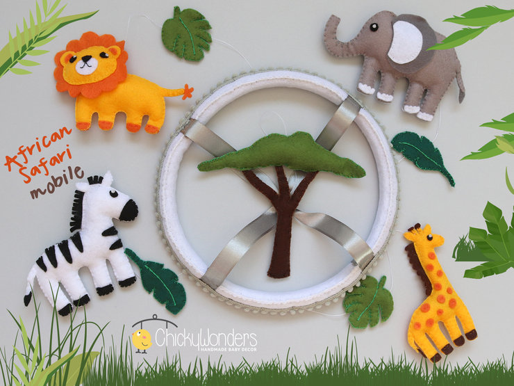 Safari Animals Baby Mobile Wildlife