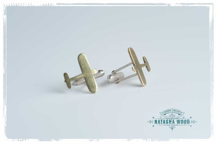 Brass Airplane cufflinks by Natasha Wood Jewellery