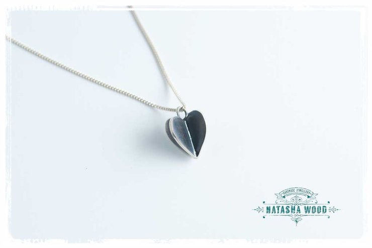 Small Oxydised silver 3D heart pendant by Natasha Wood Jewellery