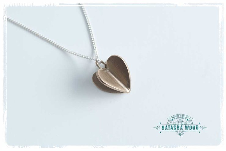 Small brass 3D heart necklace by Natasha Wood Jewellery