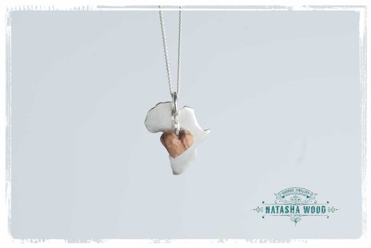Silver africa pendant with a dangling olive wood heart hello silver africa pendant with a dangling olive wood heart by natasha wood jewellery aloadofball Image collections
