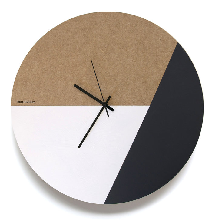 Large Black + White Wall Clock by TYDLOOS.COM