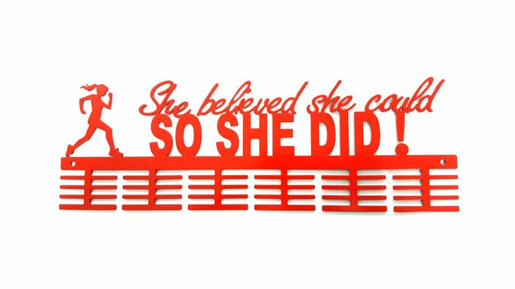 She believed she could so she did! running medal hanger in Red by Medal Hanger & Home Décor Specialists - DC Designers