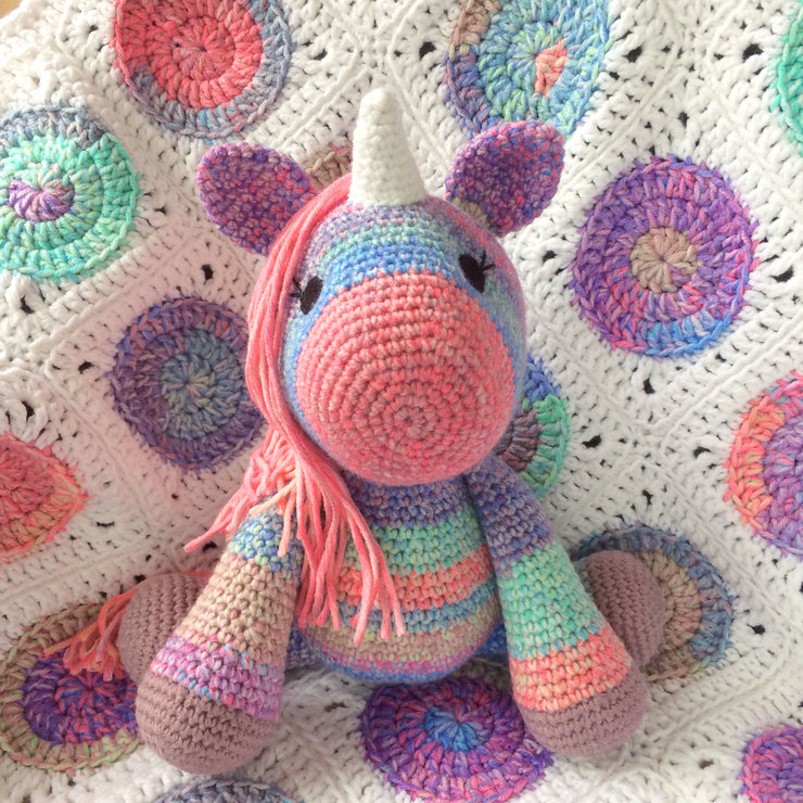 Unicorn And Baby Blanket Set Pink Unicorn Crocheted Baby Blanket