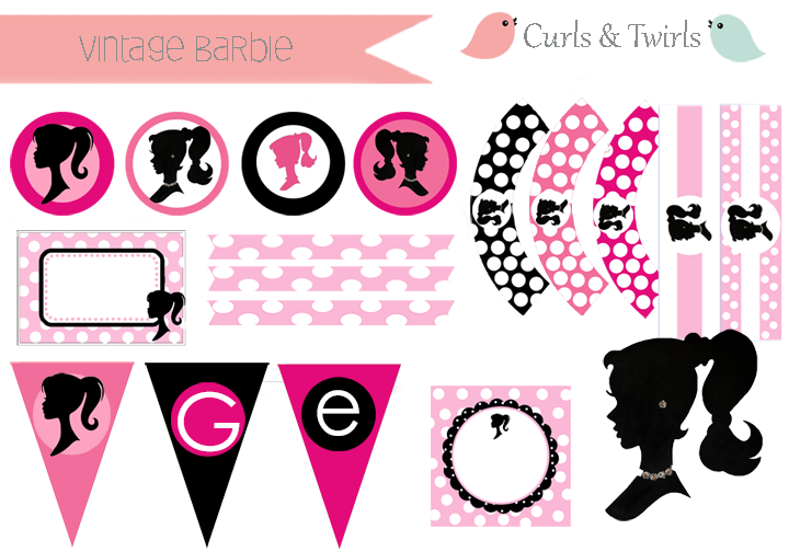 Vintage Barbie by Curls & Twirls party printables