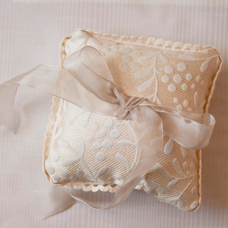 Wedding Ring cushion - beidge with detail by Annemae