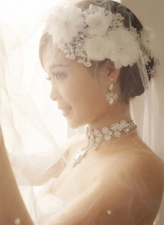 Bridal Hair Accessories Za : White matte satin flower style rhinestone wire hair