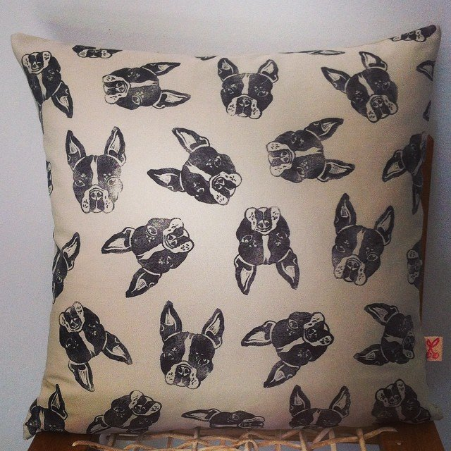 Boston Terrier / French Bulldog / Frenchie hand block printed decorative scatter cushion cover by Kerry Cherry Designs and Prints